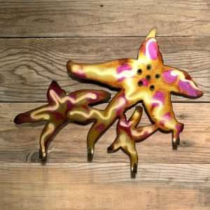 Hand Painted Wall Hook Starfish Cluster
