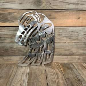First Nations Brushed Steel Raven. This stunning piece of metal art will enhance any cottage or home décor.