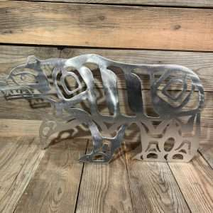 Brushed Steel First Nations Male Bear