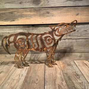 First Nations Rusted Metal Wolf