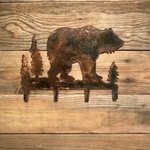 Rusted Metal Bear Wall Hook