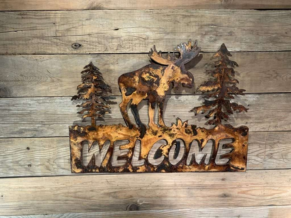 Rusted Metal Art Welcome Sign - Moose and Trees